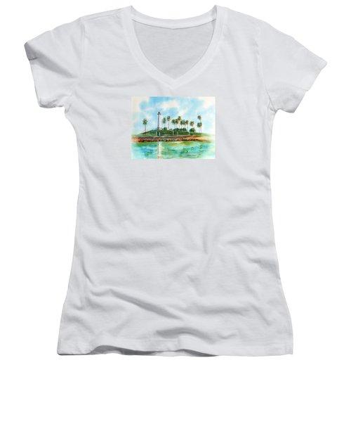 Long Beach Lighthouse  Version 2 Women's V-Neck