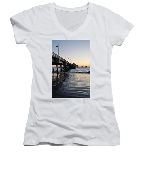 Women's V-Neck T-Shirt (Junior Cut) featuring the photograph Long Beach Pier by Kyle Hanson