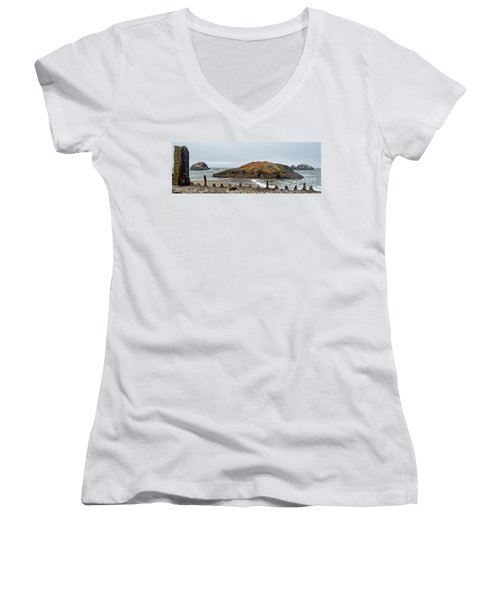 Women's V-Neck T-Shirt (Junior Cut) featuring the photograph Looking Out On The Pacific Ocean From The Sutro Bath Ruins In San Francisco  by Jim Fitzpatrick