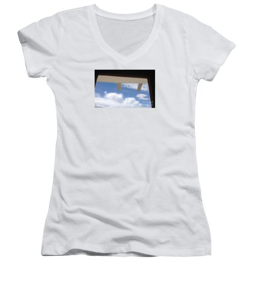 Women's V-Neck T-Shirt (Junior Cut) featuring the photograph Lookout by Nora Boghossian