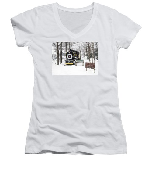 Loon Mountain Train Women's V-Neck T-Shirt