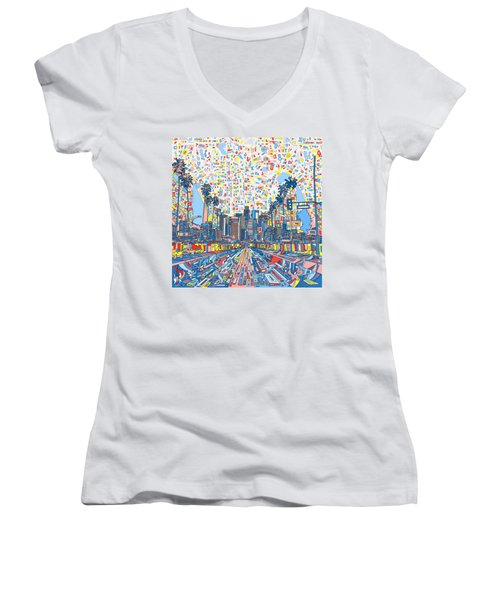 Los Angeles Skyline Abstract 3 Women's V-Neck T-Shirt (Junior Cut) by Bekim Art