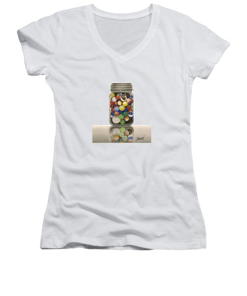 Women's V-Neck T-Shirt (Junior Cut) featuring the painting Lost And Found by Ferrel Cordle