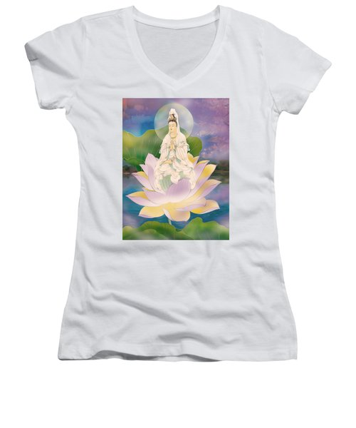 Lotus-sitting Avalokitesvara  Women's V-Neck T-Shirt (Junior Cut) by Lanjee Chee