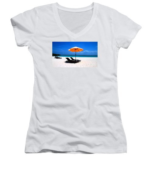 Women's V-Neck T-Shirt (Junior Cut) featuring the photograph Lounging By The Sea by Joey Agbayani