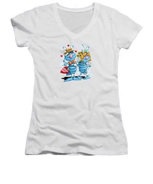 Women's V-Neck T-Shirt (Junior Cut) featuring the digital art Love Bugs by Scott Ross
