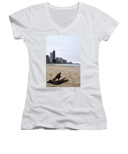 Love Chicago Women's V-Neck T-Shirt (Junior Cut) by Verana Stark