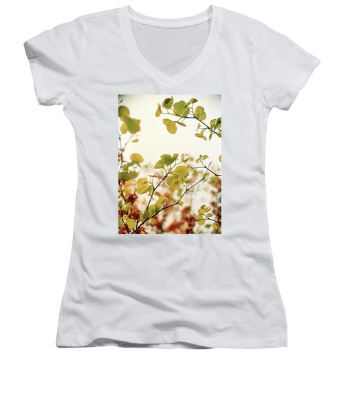 Women's V-Neck T-Shirt (Junior Cut) featuring the photograph Love Leaf by Rebecca Harman