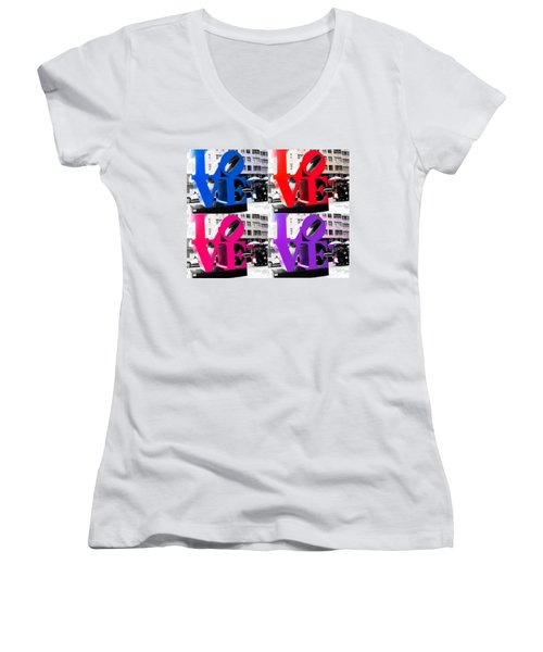 Love Pop Women's V-Neck T-Shirt (Junior Cut) by J Anthony