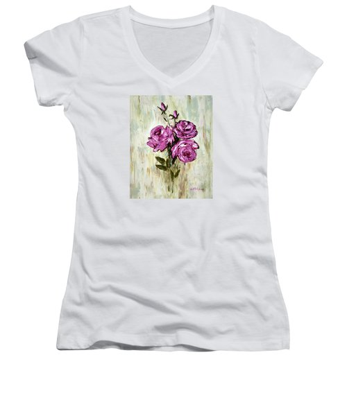 Lovely Roses Women's V-Neck T-Shirt