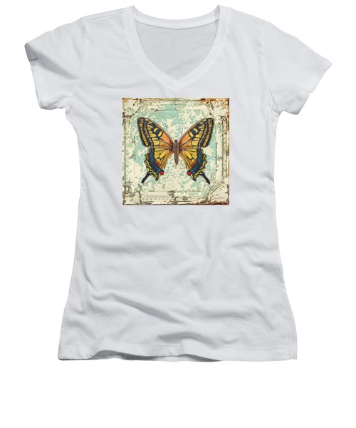 Lovely Yellow Butterfly On Tin Tile Women's V-Neck T-Shirt