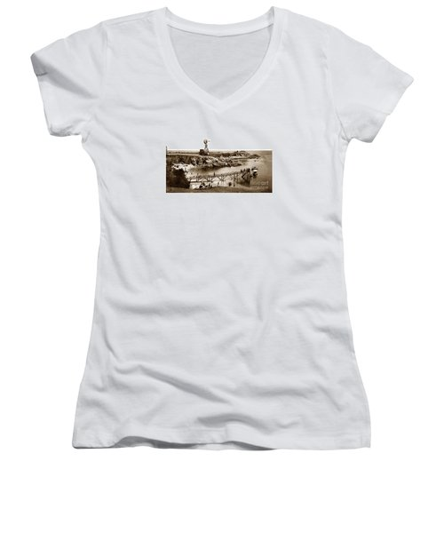 Lovers Point Beach And Old Wooden Pier Pacific Grove August 18 1900 Women's V-Neck