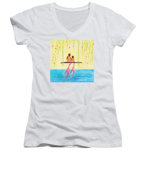 Loving Sunshine Women's V-Neck T-Shirt (Junior Cut) by Leslie Allen