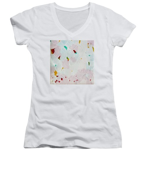 Women's V-Neck T-Shirt (Junior Cut) featuring the painting Lucent Entanglement C2013 by Paul Ashby