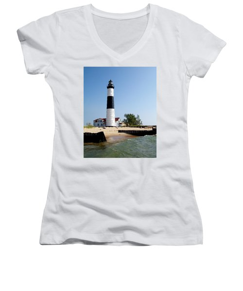 Ludington Michigan's Big Sable Lighthouse Women's V-Neck (Athletic Fit)