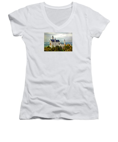Neuschwanstein Castle In Bavaria Germany Women's V-Neck T-Shirt