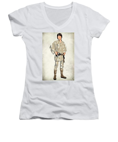 Luke Skywalker - Mark Hamill  Women's V-Neck T-Shirt (Junior Cut) by Ayse Deniz