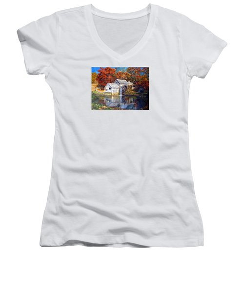 Women's V-Neck T-Shirt (Junior Cut) featuring the painting Mabry Mill Blue Ridge Virginia by LaVonne Hand