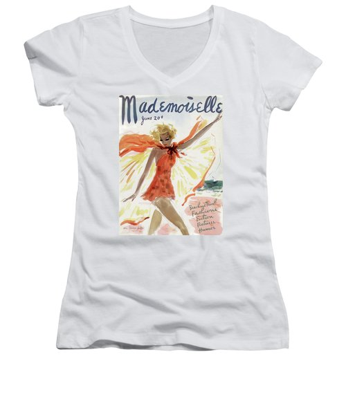 Mademoiselle Cover Featuring A Model At The Beach Women's V-Neck