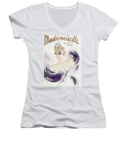 Mademoiselle Cover Featuring A Woman In A Gown Women's V-Neck