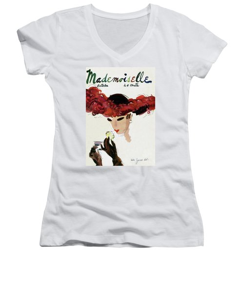 Mademoiselle Cover Featuring A Woman In A Red Women's V-Neck