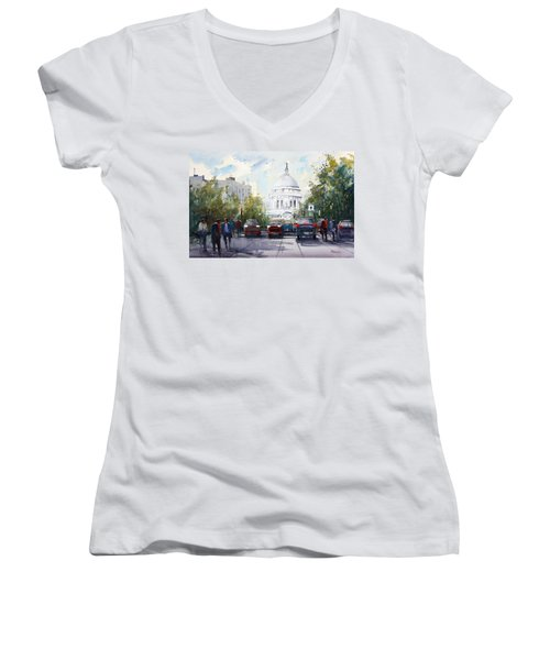 Madison - Capitol Women's V-Neck T-Shirt (Junior Cut) by Ryan Radke