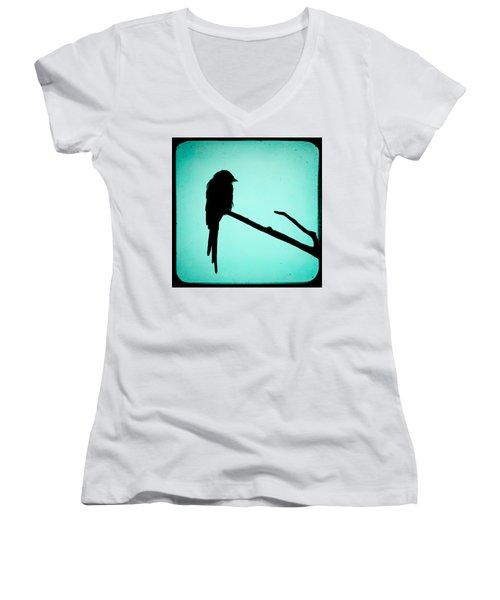 Magpie Shrike Silhouette Women's V-Neck T-Shirt (Junior Cut) by Gary Heller