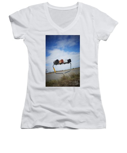 Women's V-Neck T-Shirt (Junior Cut) featuring the photograph Mailboxes by Erika Weber