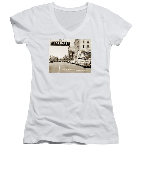 Main Street Salinas California 1941 Women's V-Neck (Athletic Fit)