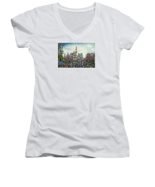 Main Street Sleeping Beauty Castle Disneyland Textured Sky Women's V-Neck (Athletic Fit)
