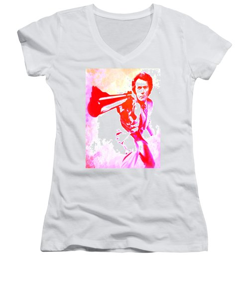 Women's V-Neck T-Shirt (Junior Cut) featuring the painting Make My Day by Brian Reaves