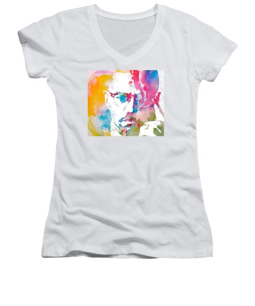 Women's V-Neck featuring the painting Malcolm X Watercolor by Dan Sproul