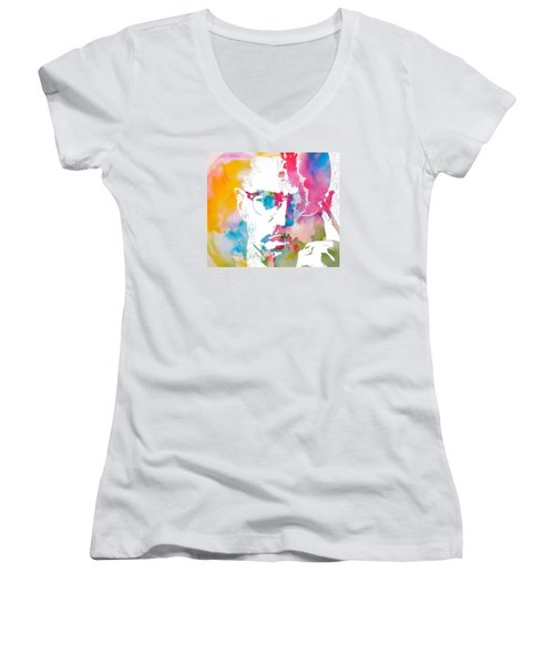 Malcolm X Watercolor Women's V-Neck T-Shirt