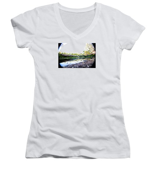 Women's V-Neck T-Shirt (Junior Cut) featuring the photograph Man Down by Joel Loftus
