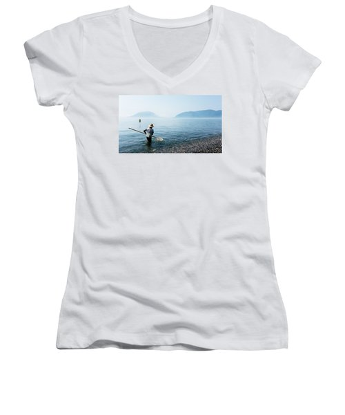 Man With A Net Women's V-Neck (Athletic Fit)