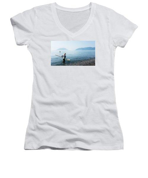 Man With A Net Women's V-Neck T-Shirt