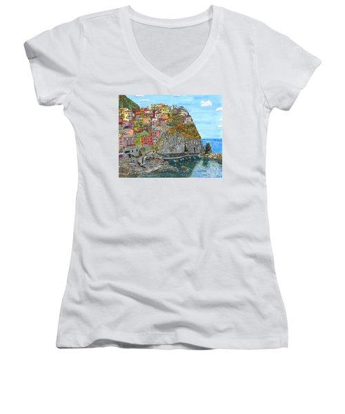 Manarola In Cinque Terra Women's V-Neck T-Shirt