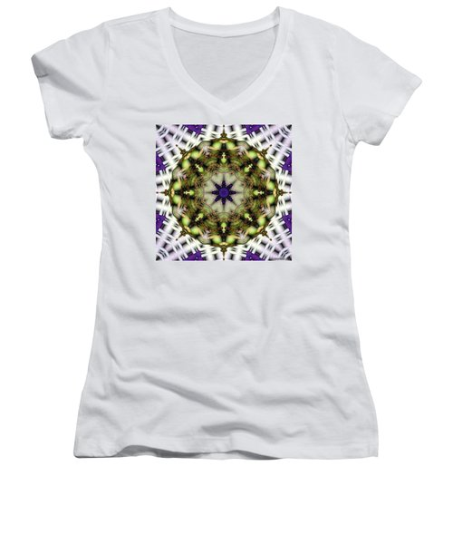 Mandala 21 Women's V-Neck T-Shirt (Junior Cut) by Terry Reynoldson