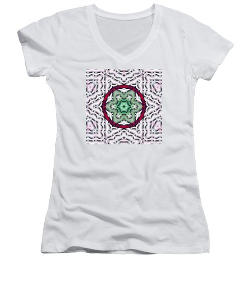 Mandala 7 Women's V-Neck T-Shirt (Junior Cut) by Terry Reynoldson