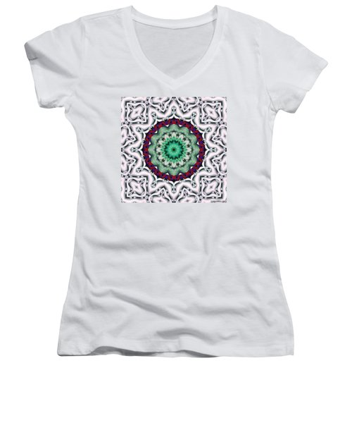 Mandala 8 Women's V-Neck T-Shirt (Junior Cut) by Terry Reynoldson