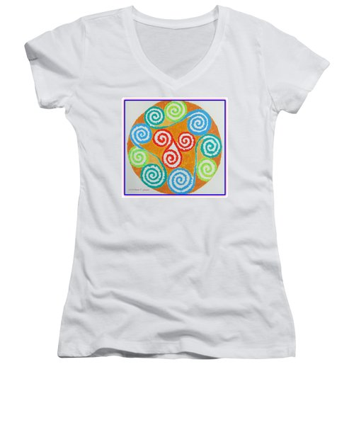 Women's V-Neck T-Shirt (Junior Cut) featuring the painting Mandala by Sonali Gangane