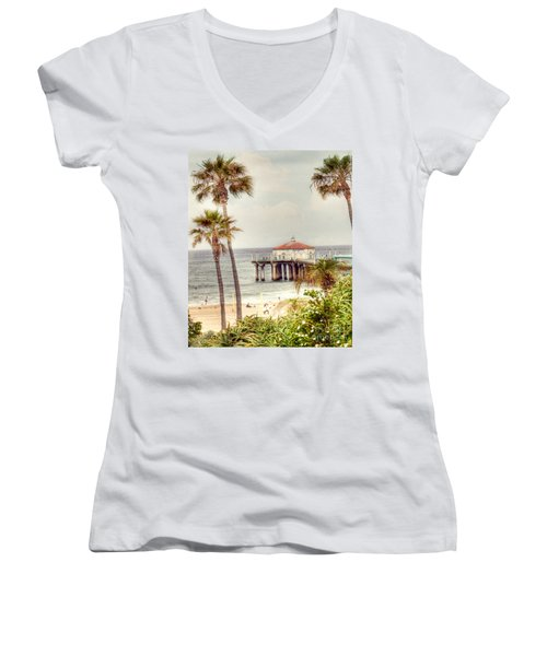 Manhattan Beach Pier Women's V-Neck T-Shirt (Junior Cut) by Juli Scalzi