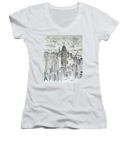 Women's V-Neck T-Shirt (Junior Cut) featuring the drawing Manhattan by Janice Rae Pariza