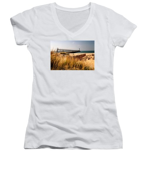 Manistee Lighthouse Women's V-Neck (Athletic Fit)