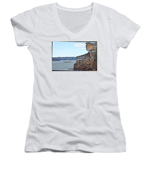 Women's V-Neck T-Shirt (Junior Cut) featuring the photograph Manly Ferry Passing By  by Miroslava Jurcik