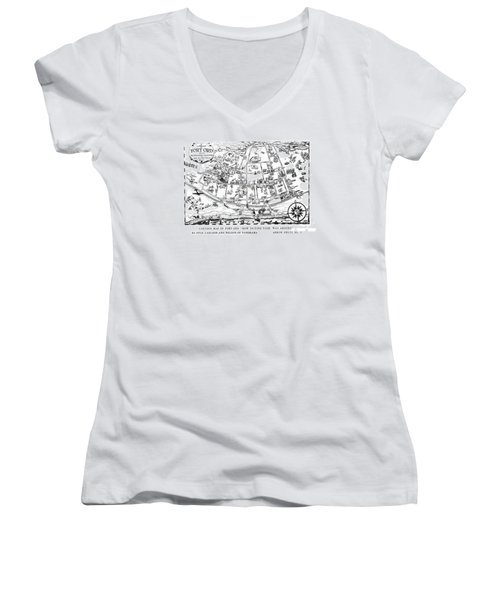 Map Of Fort Ord Army Base Monterey California Circa 1950 Women's V-Neck