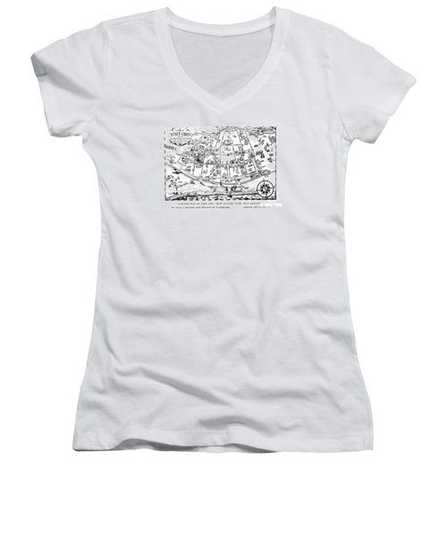 Map Of Fort Ord Army Base Monterey California Circa 1950 Women's V-Neck (Athletic Fit)