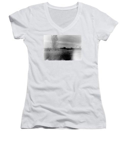 Maple Ridge Rd Farm Women's V-Neck T-Shirt (Junior Cut) by Daniel Thompson