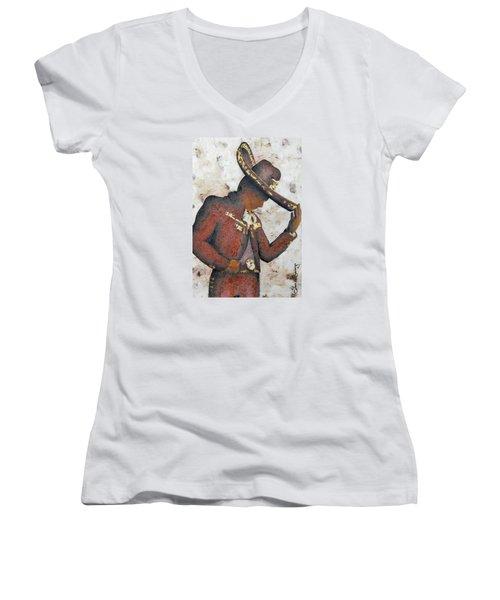 Mariachi  II Women's V-Neck T-Shirt (Junior Cut) by J- J- Espinoza