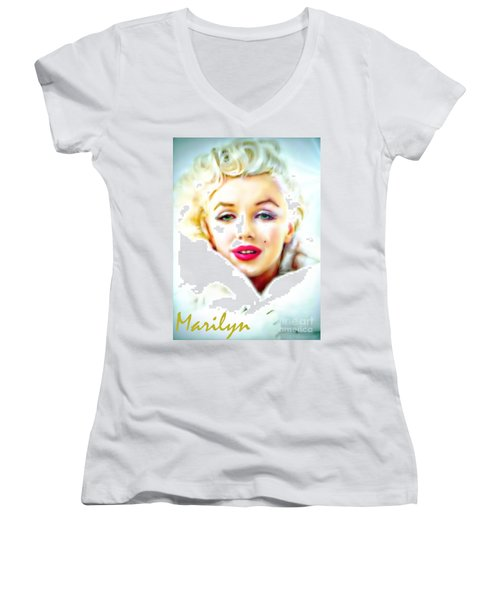 Marilyn Monroe Women's V-Neck T-Shirt (Junior Cut) by Barbara Chichester